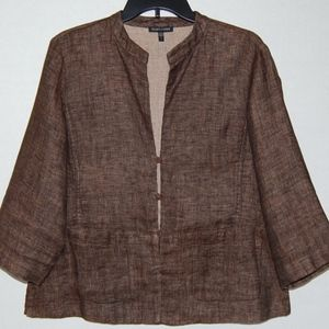 Eileen Fisher brown button front linen cardigan